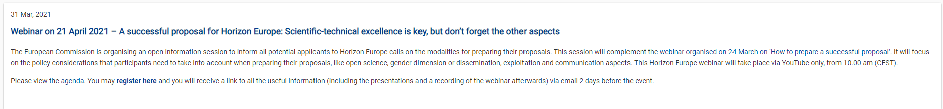 """Webinar για τον Ορίζοντα Ευρώπη από την ΕΕ : """"A successful proposal for Horizon Europe: Scientific-technical excellence is key, but don't forget the other aspects"""""""